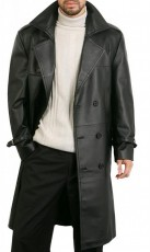 black leather overcoat
