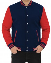 Navy Blue and Red Varsity Jacket