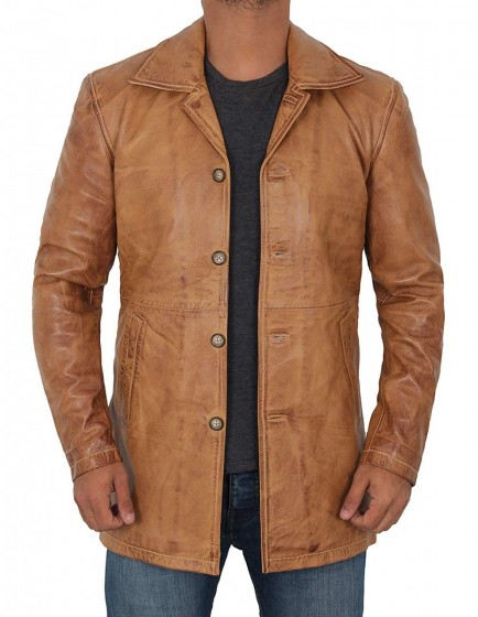 Distressed Leather Tan Jacket