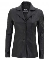 Womens Black Blazer Leather Jacket