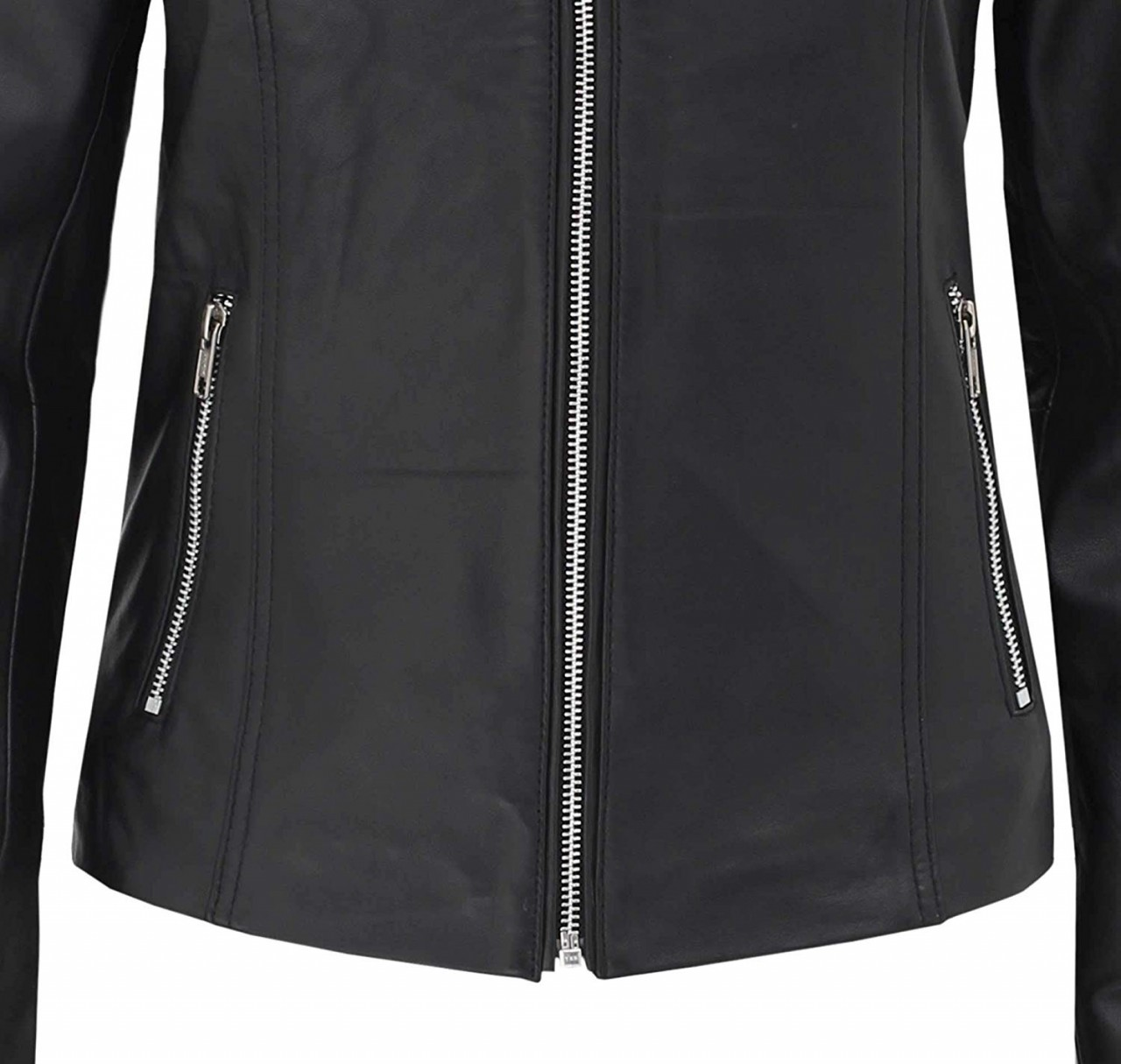 Black Leather Cafe Racer Jacket For Womens
