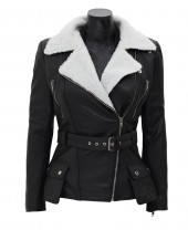 Fur Collar Black Leather Jacket