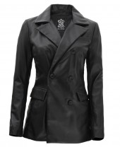 Women Black Leather Coat