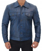 Blue Trucker Leather Jacket