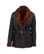Black Shearling Coat Womens