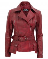 Womens burgundy leather jacket