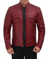 maroon mens cafe leather jacket