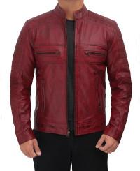 maroon mens cafe leather jacket