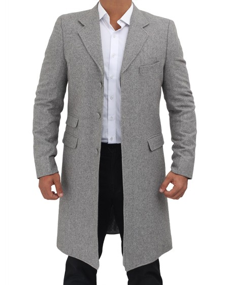 long gray wool coat