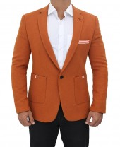 Mens Orange Wool Coat