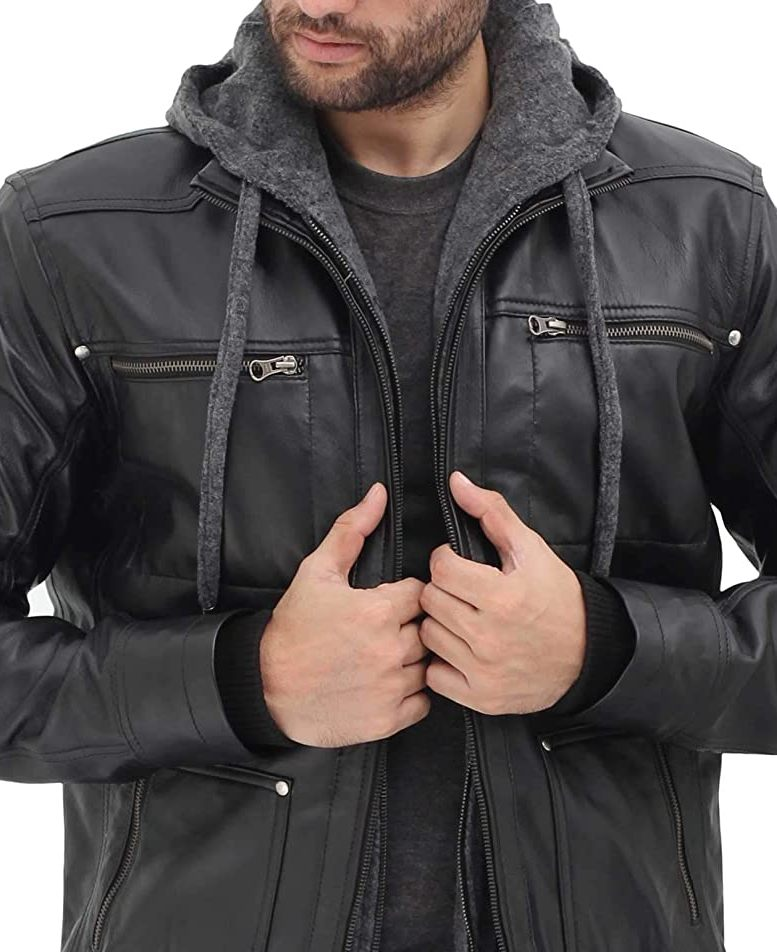 HGWXX7 Men PU Faux Leather Motorcycle Coats Zip up Bomber Jacket with Removable Hood