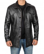 Mens Leather Black Carcoat