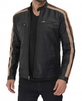 Black Striped Leather Jacket