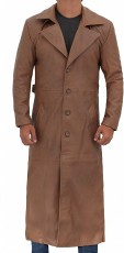 leather mens brown long coat