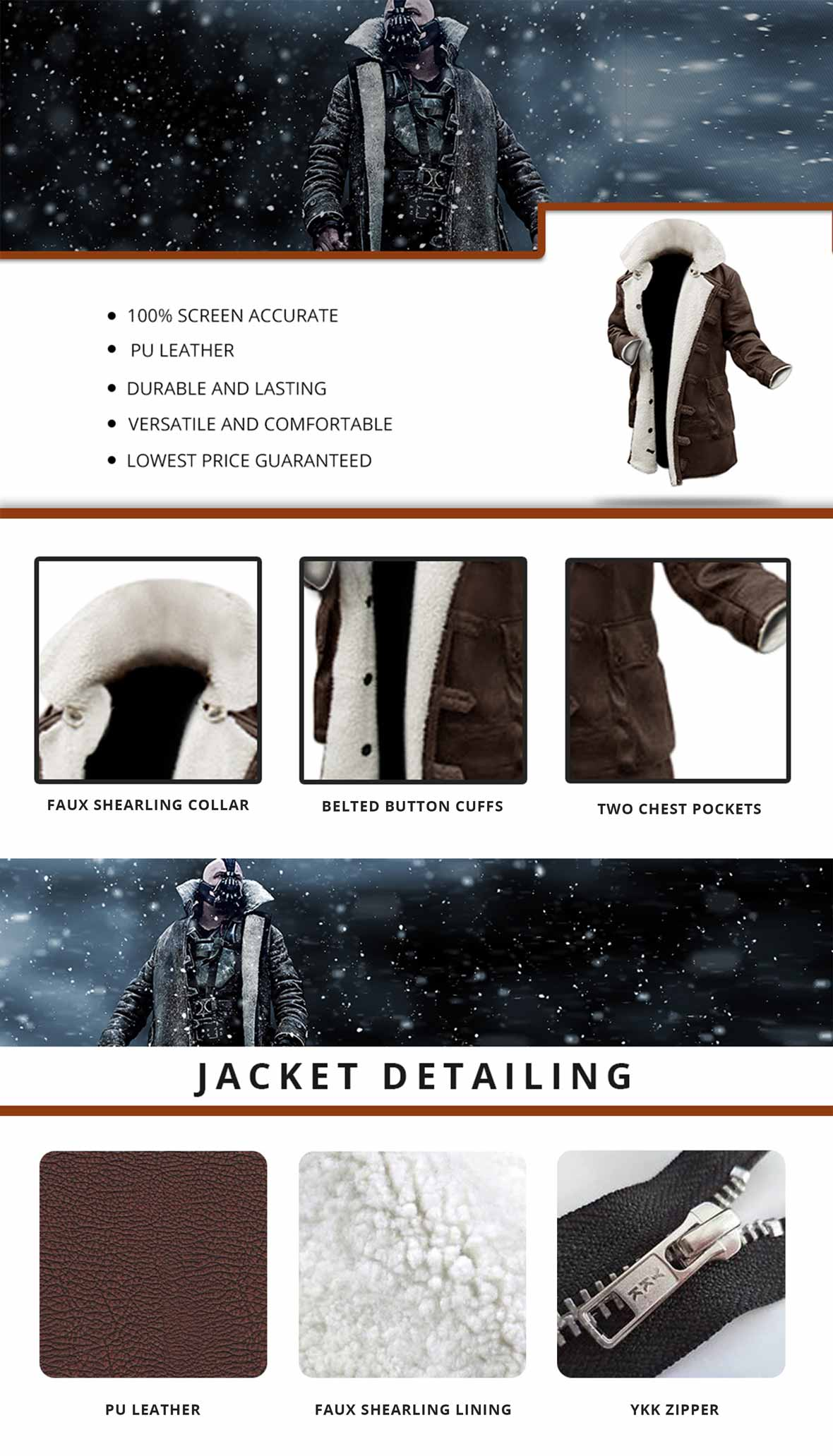 Bane Shearling Jacket Infographics