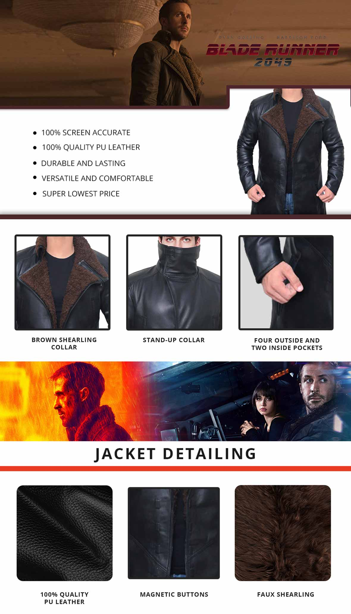 Blade Runner Leather Trench Coat