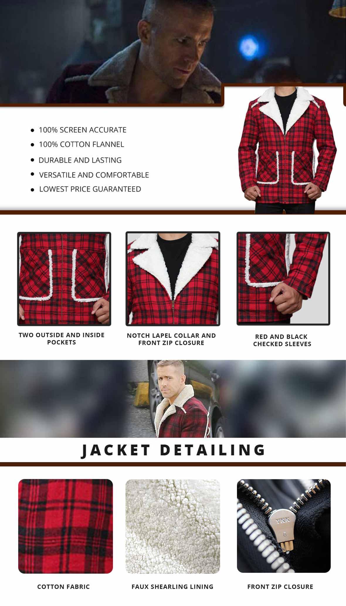 Deadpool Shearling Jacket Infographics