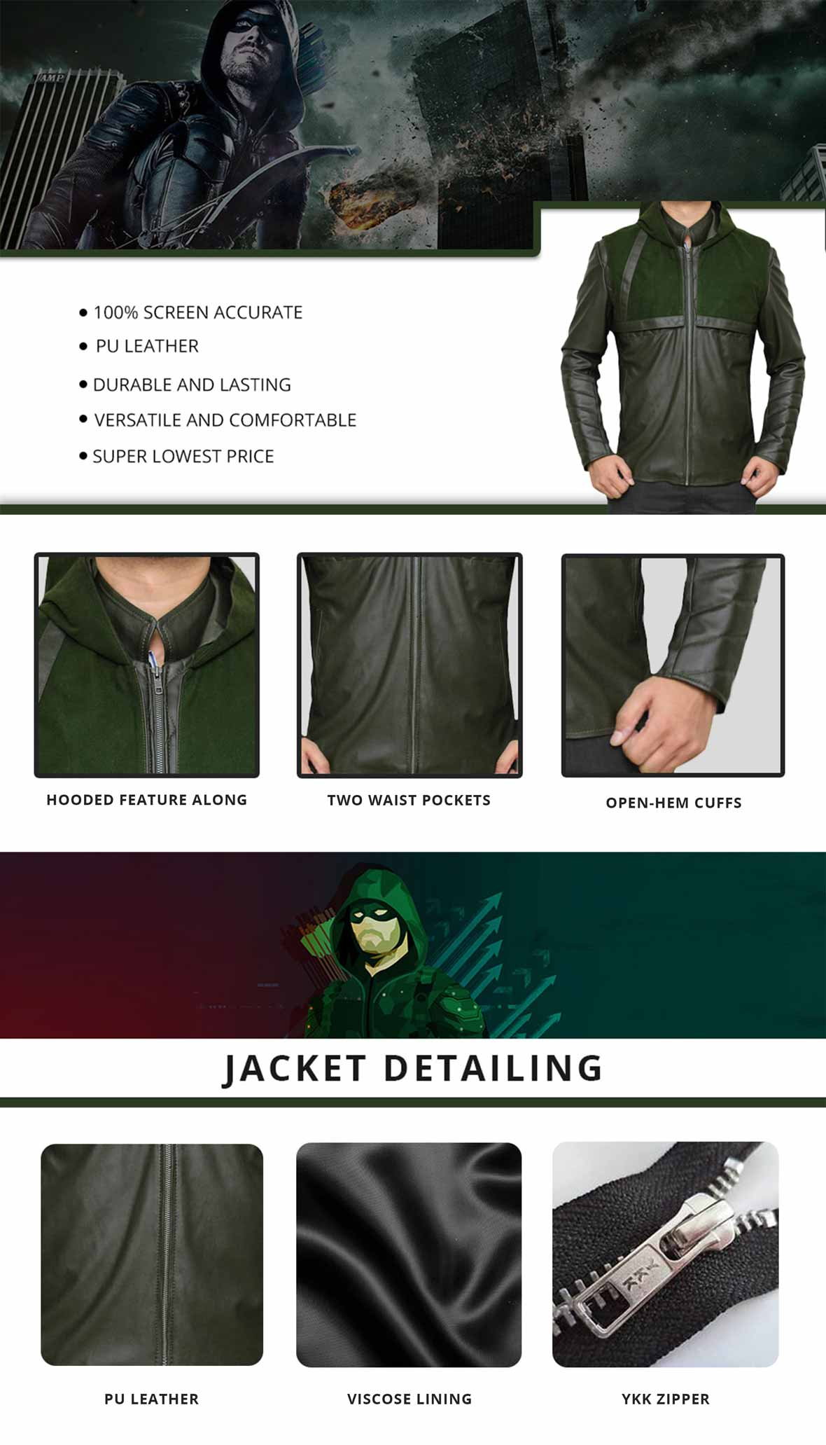 Green Arrow Jacket Infographics
