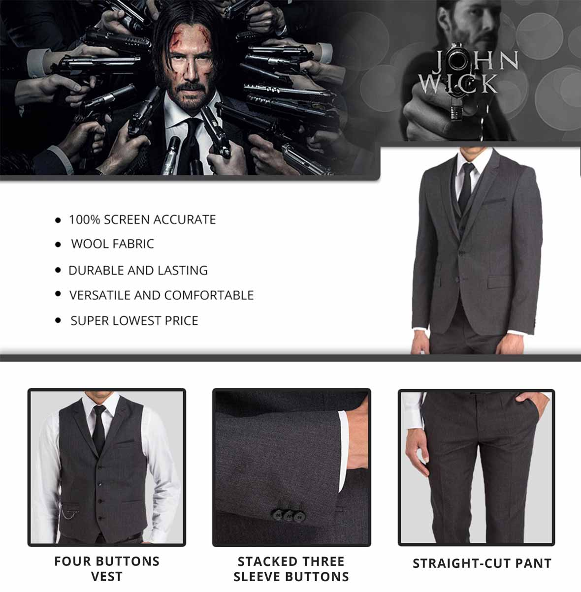 KEANU REEVES SUIT Infographics