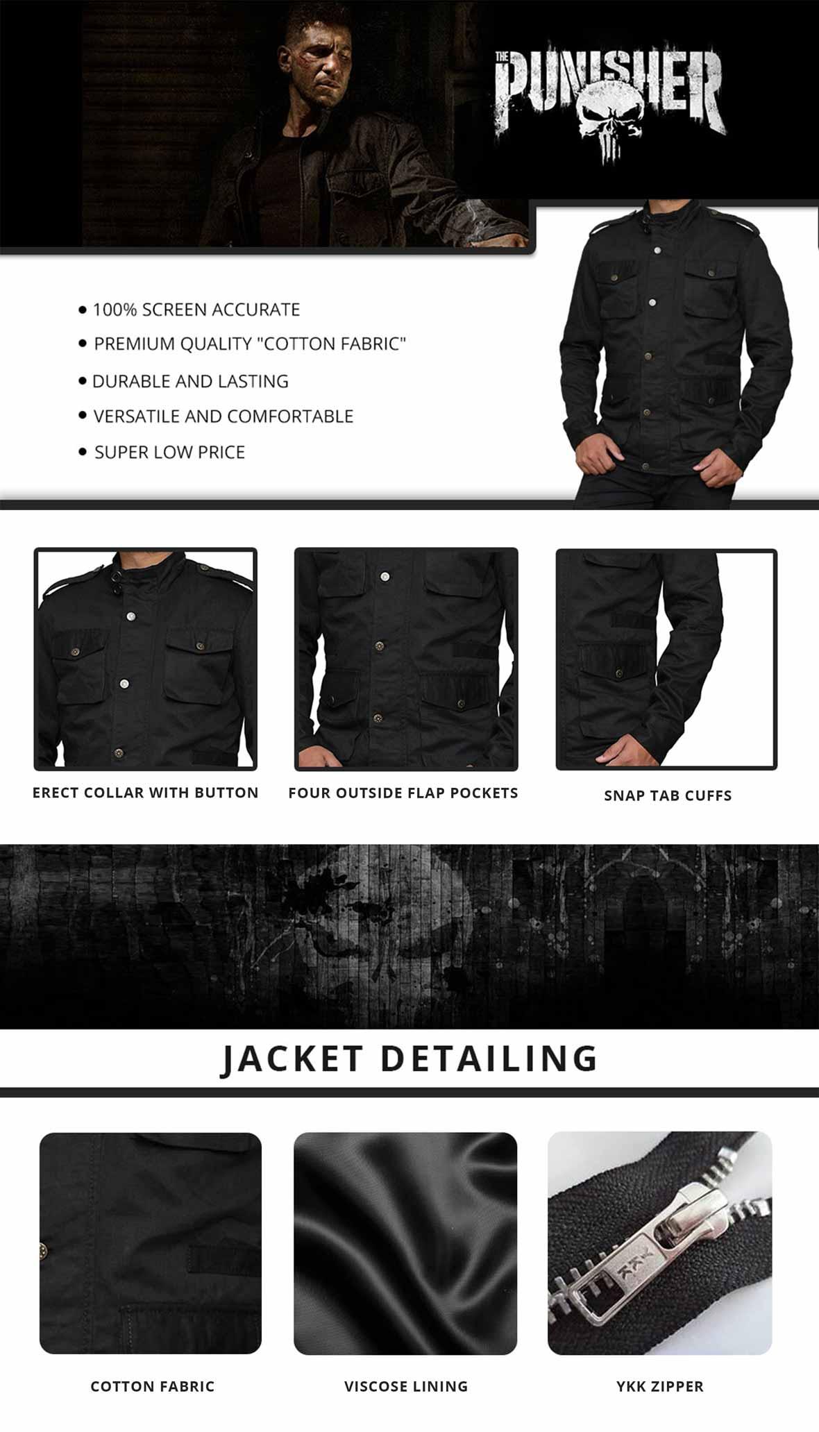 Punisher Jacket Infographics