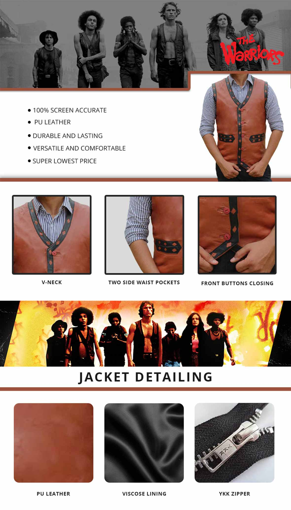 Warriors Leather Vest Infographics