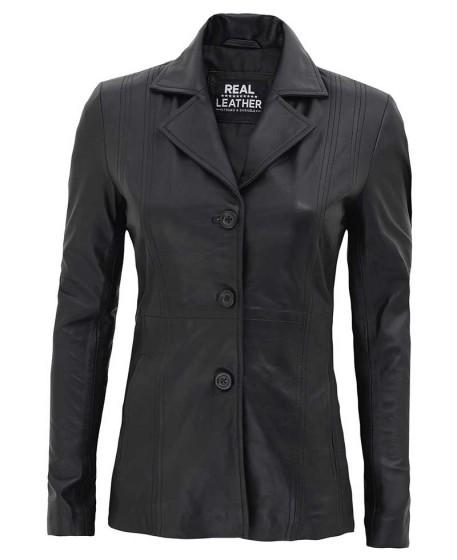Womens Black Blazer Leather Jacket