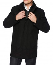 Black Wool 3 4 Length Coat