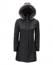 Leather Coat With Fur Trim