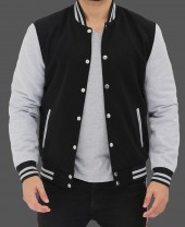 Grey and Black Baseball Jacket