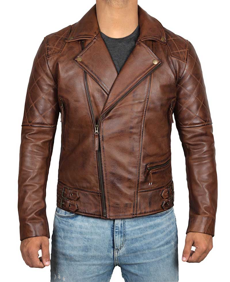 09ad6c893 Frisco Quilted Sleeves Asymmetrical Rustic Brown Brando Motorcycle Leather  Jacket