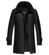 black leather 3 4 length coat