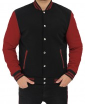 Maroon and Black Letterman Jacket
