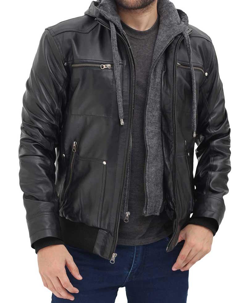Slim Fit Biker Zipper Coat style Men Hooded Black real leather jacket