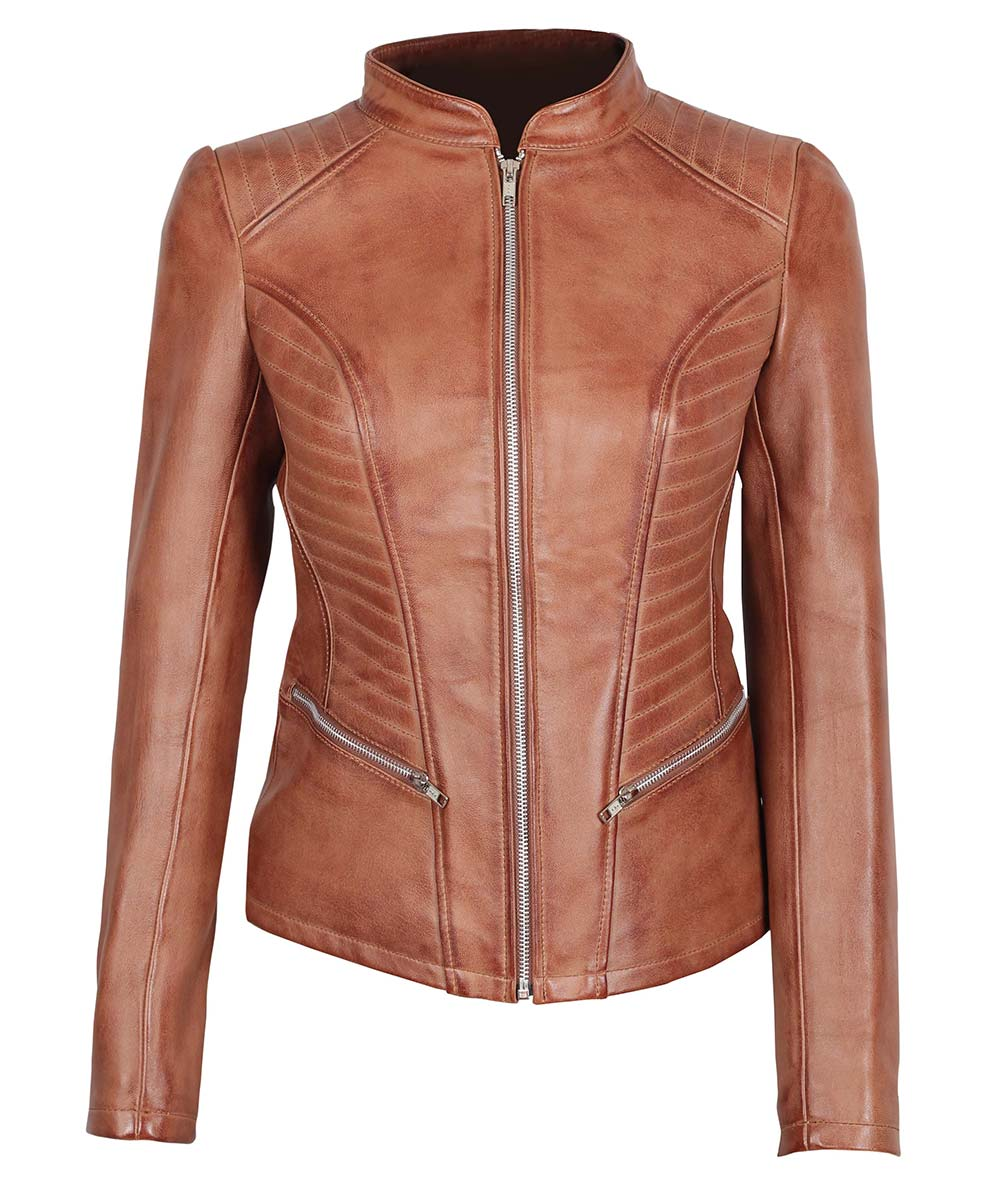 cc008028d Rachel Womens Cognac Leather Jacket