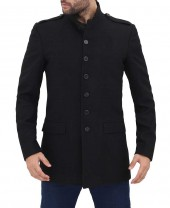 Black Wool Mens 3 Quarter Length Coat