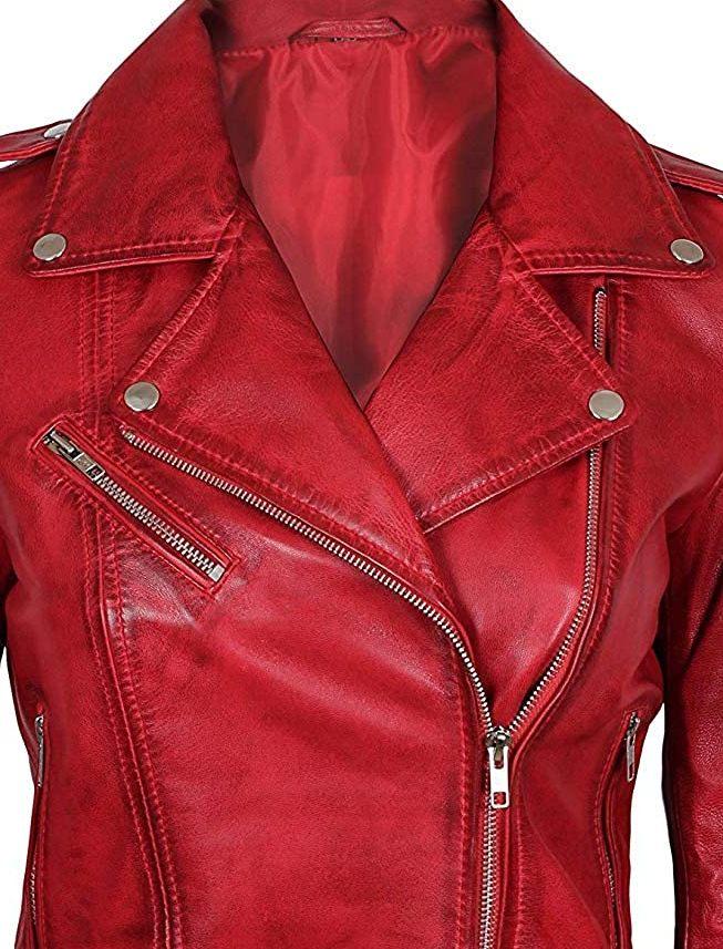 Leather Jacket Women S Red Size Womens Moto Motorcycle Biker Coat Slim Fit 22