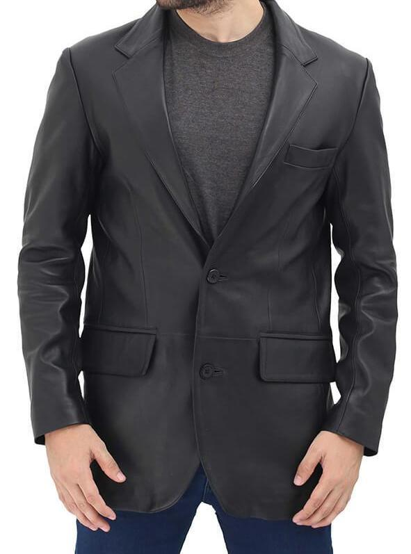 Leather Gallery Mens Black 2 Button Leather Blazer