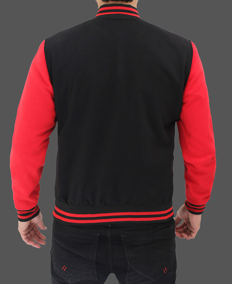 Black And Red Varsity Jacket In Letterman Style