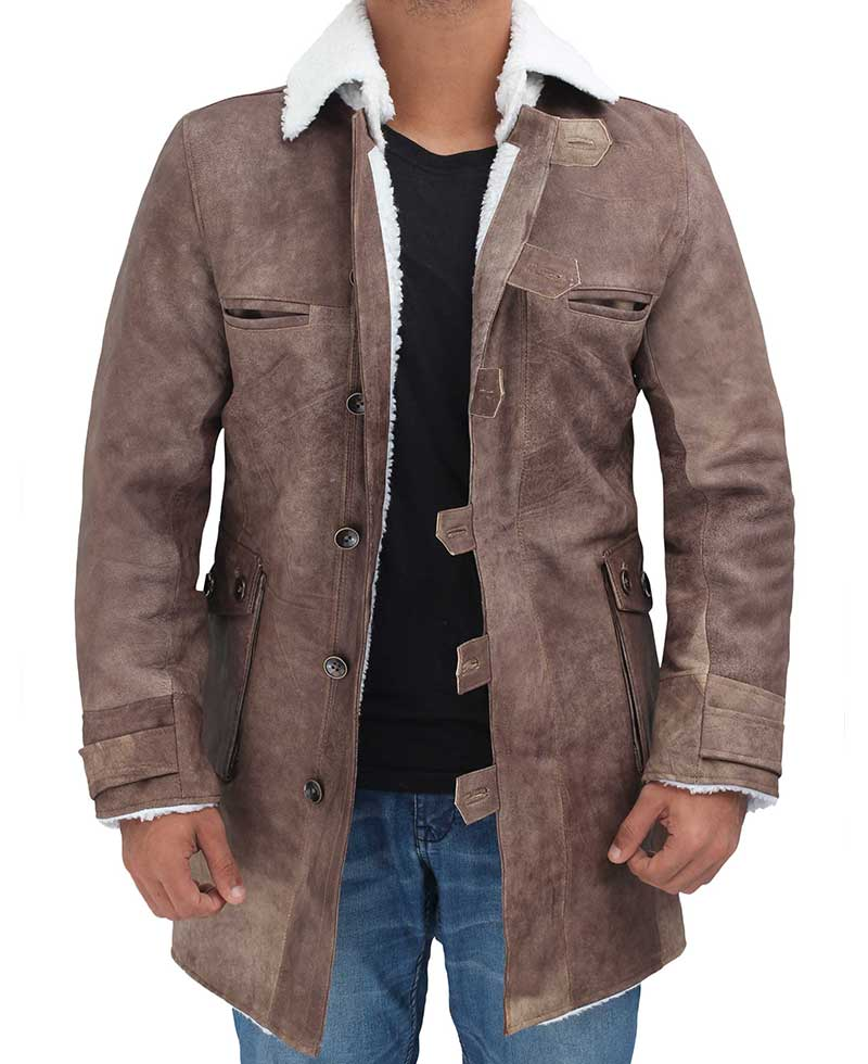 Men S Brown Leather Coat Distressed Shearling White Winter Jacket
