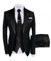 Black Three Piece Prom Tuxedo