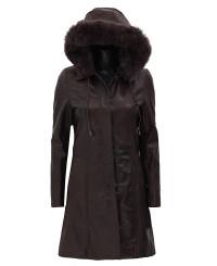Shearling Hood Dark Brown Coat
