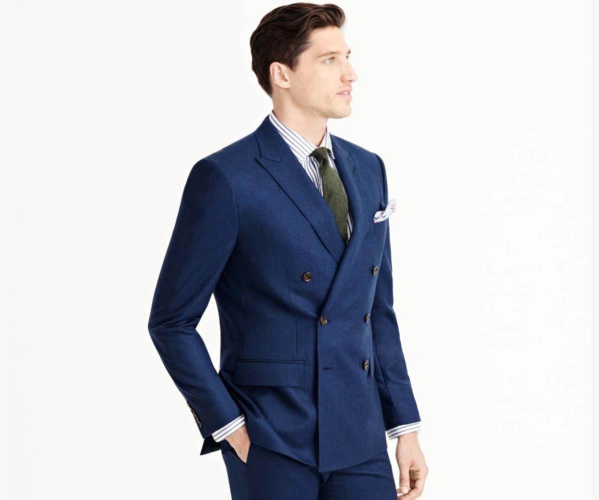 A double-breasted suit jacket is typically a bit longer in order to create space for the big lapel and complicated button motif and balance out the look. Be careful of jackets that are too long.