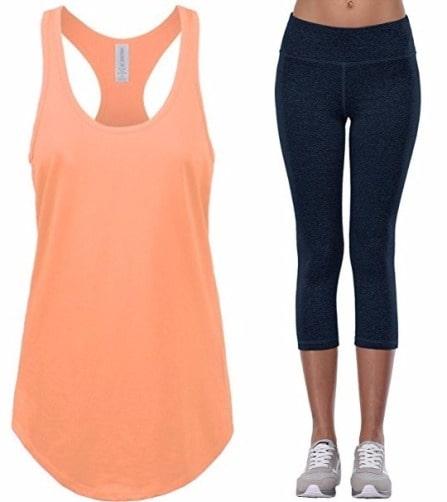 orange tank top with tight pant