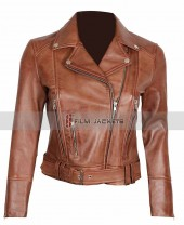 Elisa Womens Brown Leather Motorcycle Jacket