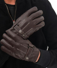 brown biker gloves