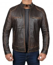 distressed brown mens leather jacket