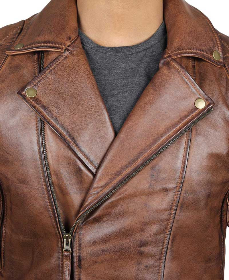 Brando Oxblood Asymmetrical Quilted Motorcycle Leather Jacket