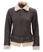 Dark Brown Shearling Jacket Women