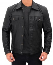 Black Leather Trucker Jacket