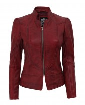 Womens Biker Maroon Jacket